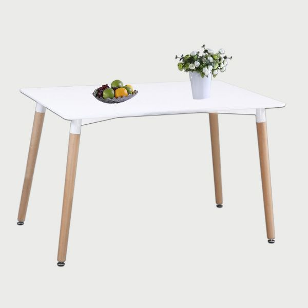 Small informal rectangular dining table in Arctic white to seat up to four